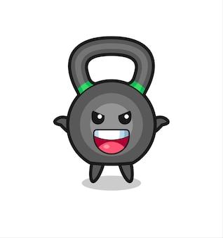 Ilustracja cute kettleball robi gest przestraszenia, ładny styl na koszulkę, naklejkę, element logo