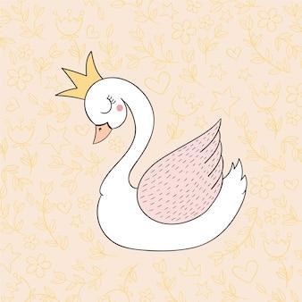 Ilustracja cute księżniczka łabędź