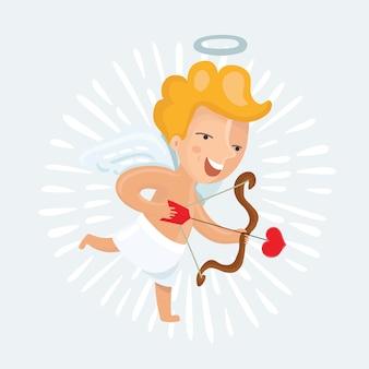 Ilustracja cute kupidyna ze strzałkami i cebulą
