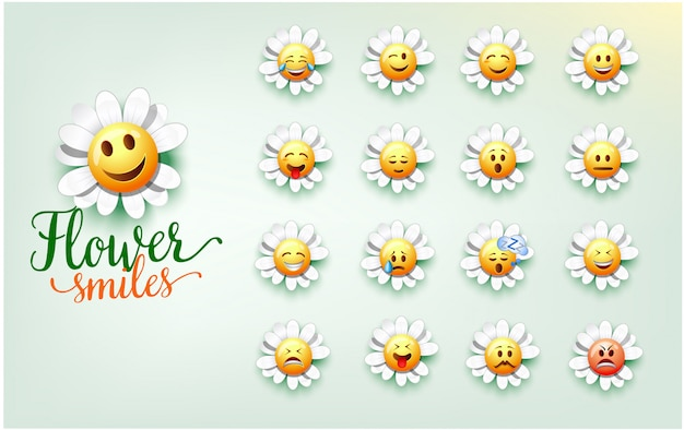 Ilustracja cute kwiat uśmiecha. zestaw wyrazu twarzy kwiatu