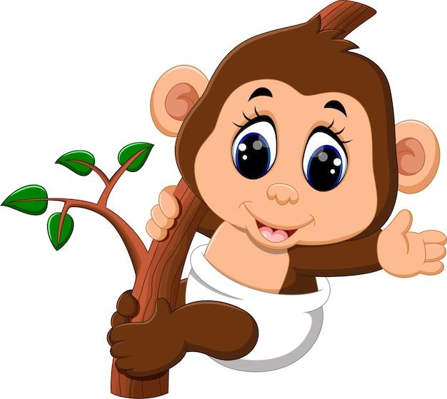 Ilustracja cute małpa kreskówek