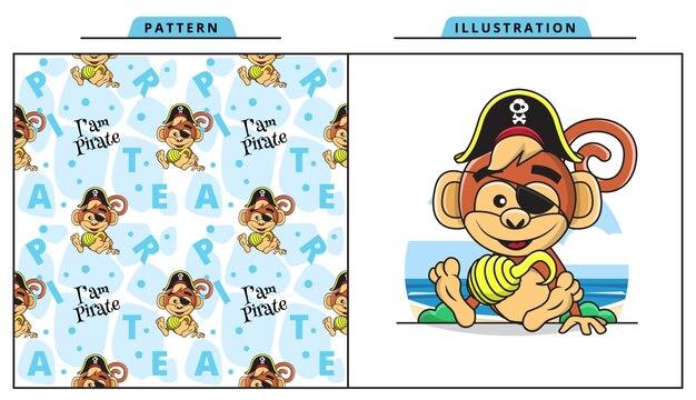Ilustracja cute monkey na sobie kostium pirata z ozdobnym wzorem