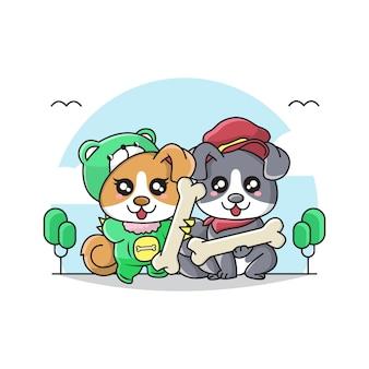 Ilustracja cute para pies ma na sobie kostium i trzyma kość ..
