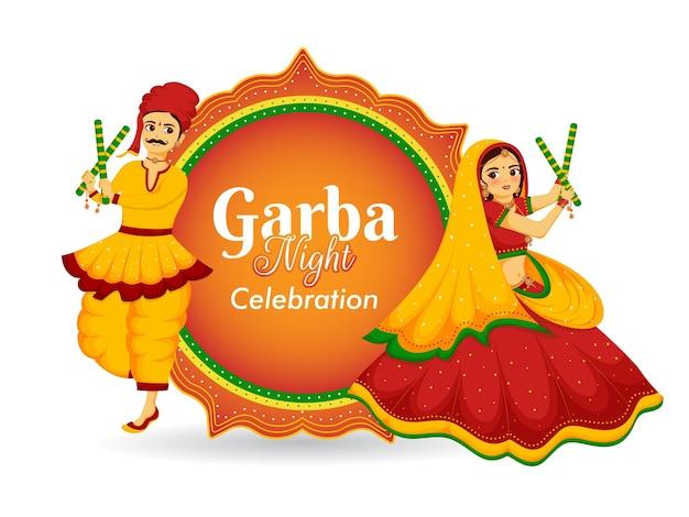 Ilustracja cute para tańczy garba lub dandiya na festiwalu happy navratri.