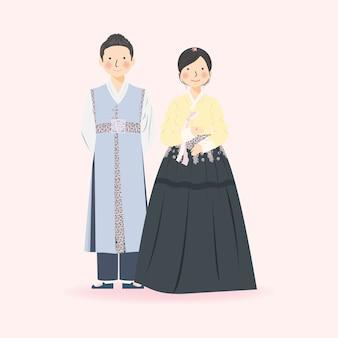 Ilustracja cute para w tradycyjnych strojach ślubnych hanbok w korei południowej, elegancka ilustracja cute para