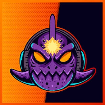Ilustracja cute piranha fish blue purple ze słuchawkami i dużym okiem na fioletowym tle. ręcznie rysowane ilustracja logo sportowego maskotki