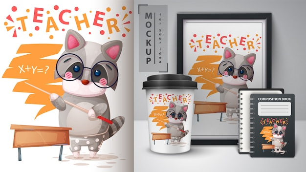 Ilustracja cute raccon nauczyciela