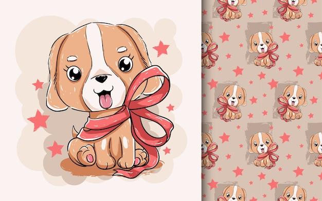 Ilustracja cute szczeniaka z czerwoną wstążką.