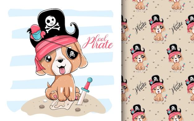 Ilustracja cute szczeniaka z pirackim zwyczajem.
