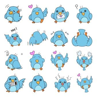Ilustracja cute zestaw ptaków
