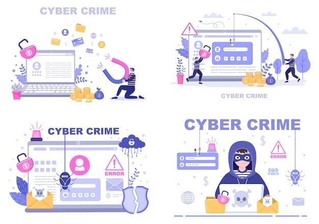 Ilustracja cyberprzestępczości phishing kradzież danych cyfrowych, systemu urządzenia, hasła i dokumentów bankowych z komputera