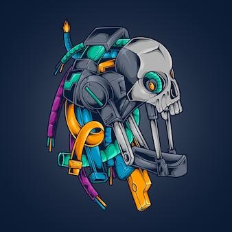 Ilustracja cyberpunk robota czaszki