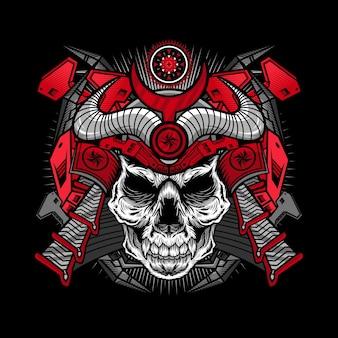 Ilustracja cyborga czaszki czerwonego samuraja szczegółowego projektu