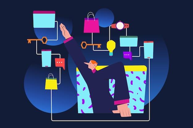 Ilustracja cyfrowego ekosystemu