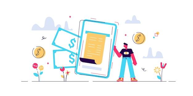 Ilustracja cyfrowy rachunek. małe osoby z portfela telefonicznego. nowoczesna elektroniczna metoda płatności. obsługa transakcji bankowych. bezpieczne zakupy online w technologii urządzenia mobilnego