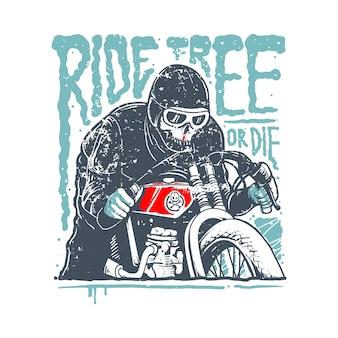 Ilustracja cytat horror motocyklista czaszki