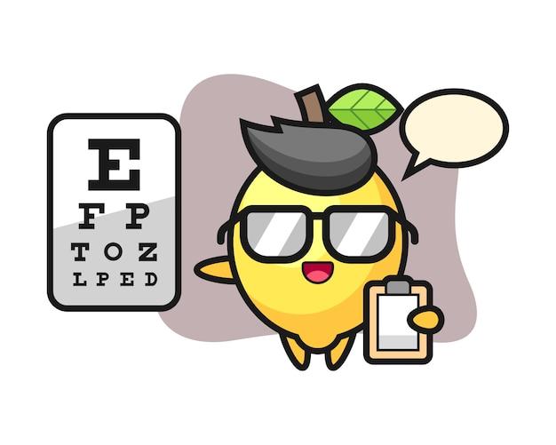 Ilustracja cytryny maskotka jako okulistyka