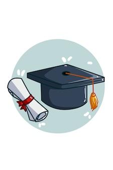 Ilustracja czapka i certyfikat ukończenia szkoły