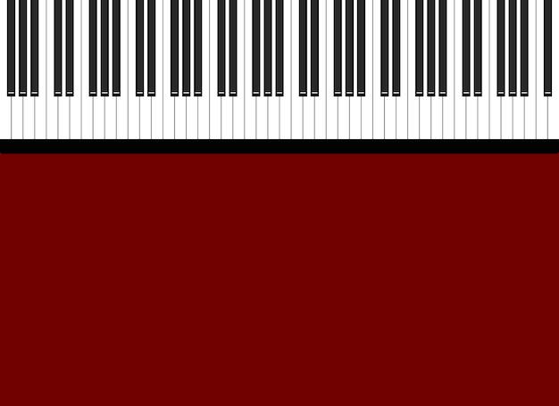 Ilustracja czarno-białych klawiszy fortepianu na jasnoczerwonym tle
