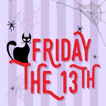 Ilustracja czarny kot z piątek 13th słowo.