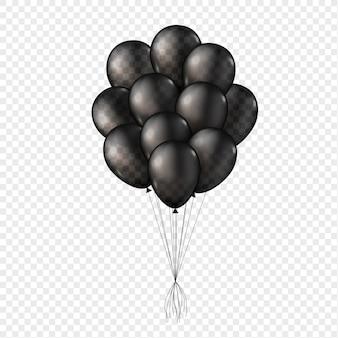 Ilustracja czarny przezroczysty 3d balonów