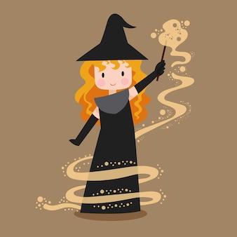 Ilustracja czarownica o tematyce halloween