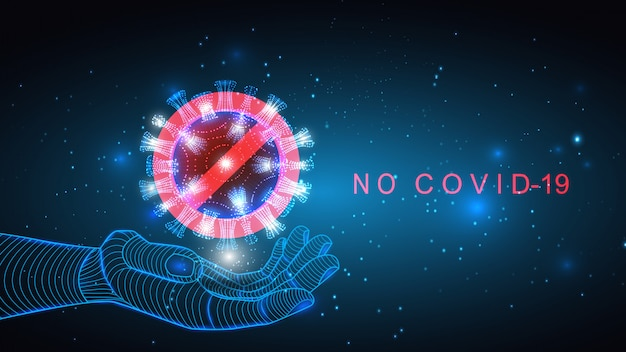 Ilustracja cząstek koronawirusa na świetlistym tle. szczepionka epidemiczna, pandemiczna, lekarska, wirusowa.