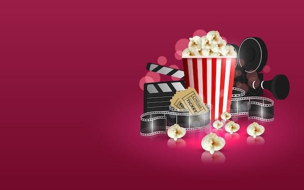 Ilustracja czasu filmu. kompozycja z popcornem, klapsem, okularami 3d i taśmą przezroczystą.