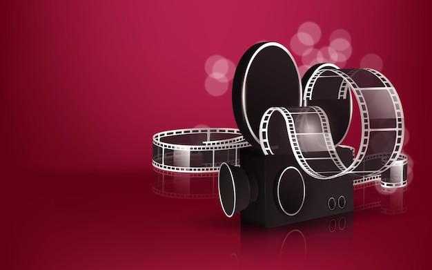Ilustracja czasu filmu z popcornem, klapsem, okularami 3d i taśmą filmową.