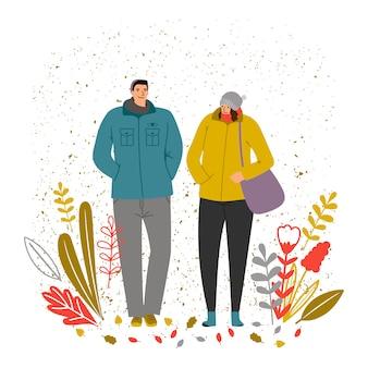 Ilustracja czasu jesieni. postacie mężczyzny i kobiety, jesienny nastrój