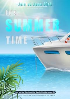 Ilustracja czasu letniego z widokiem na ocean z łodzią na horyzoncie