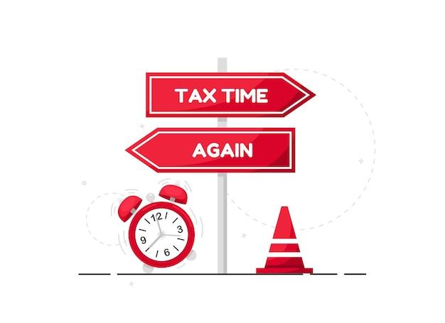 Ilustracja czasu podatkowego z czerwonym znakiem kierunku i budzikiem w płaskiej konstrukcji