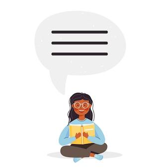 Ilustracja czasu szkolnego lub edukacyjnego postać młodej dziewczyny trzymającej otwartą książkę i czytającej