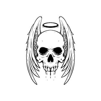 Ilustracja czaszka anioła