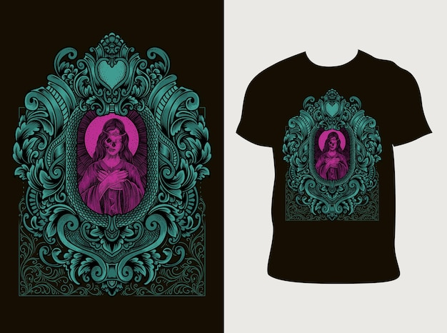 Ilustracja czaszka santa maria w stylu grawerowania