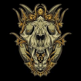 Ilustracja czaszka tygrysa w ornament do grawerowania