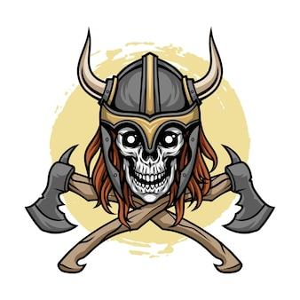 Ilustracja czaszka wikinga