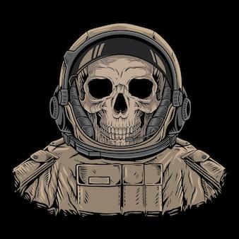 Ilustracja czaszki astronauta wektor premium