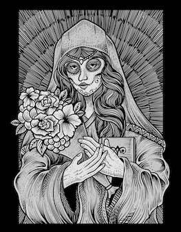 Ilustracja czaszki cukrowej kobiety w stylu grawerowania
