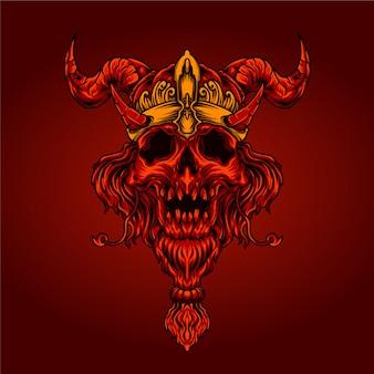 Ilustracja czaszki czerwony diabeł