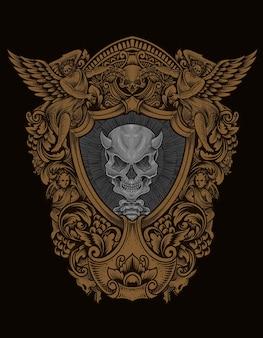 Ilustracja czaszki demona z grawerowanym stylem ornamentu