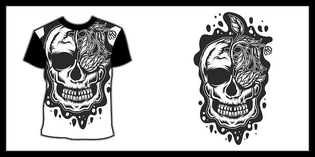 Ilustracja czaszki dla t shirt design