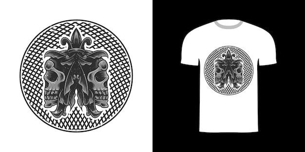 Ilustracja czaszki do projektowania koszulek