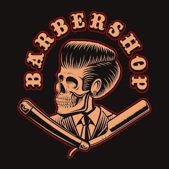 Ilustracja czaszki fryzjera z brzytwą na ciemnym tle. jest to idealne rozwiązanie do logo, nadruków na koszulach i wielu innych zastosowań.