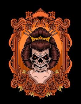 Ilustracja czaszki gejszy w stylu vintage róży