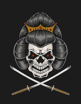 Ilustracja czaszki gejszy z dwoma mieczami katanyna