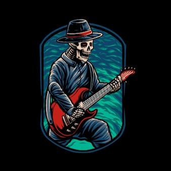 Ilustracja czaszki gitarzysty