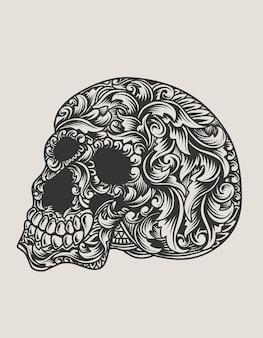 Ilustracja czaszki głowy ze stylem ornamentu