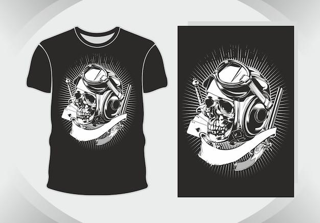 Ilustracja czaszki i koszulka