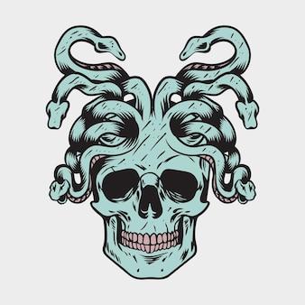 Ilustracja czaszki i węża